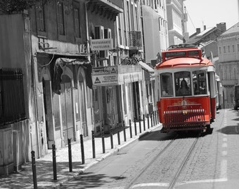 Photograph of a trolley car in Lisbon, Portugal (The 1st of three cars).