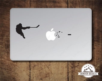 Hockey Player Blasting the Apple Macbook Sticker Ice Hockey Slapshot Mac Decal 13 15