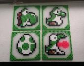Perler Yoshi Coasters Set of 4