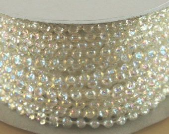 4mm 24 Yard Roll Faux Pearl Beads on a String Craft (Crystal Clear Iridescent)