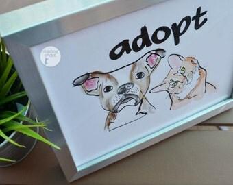 Adopt Print, Rescue Kid, Furkid, Furparent, Adopt Don't Shop, Rescue dog, Rescue Cat