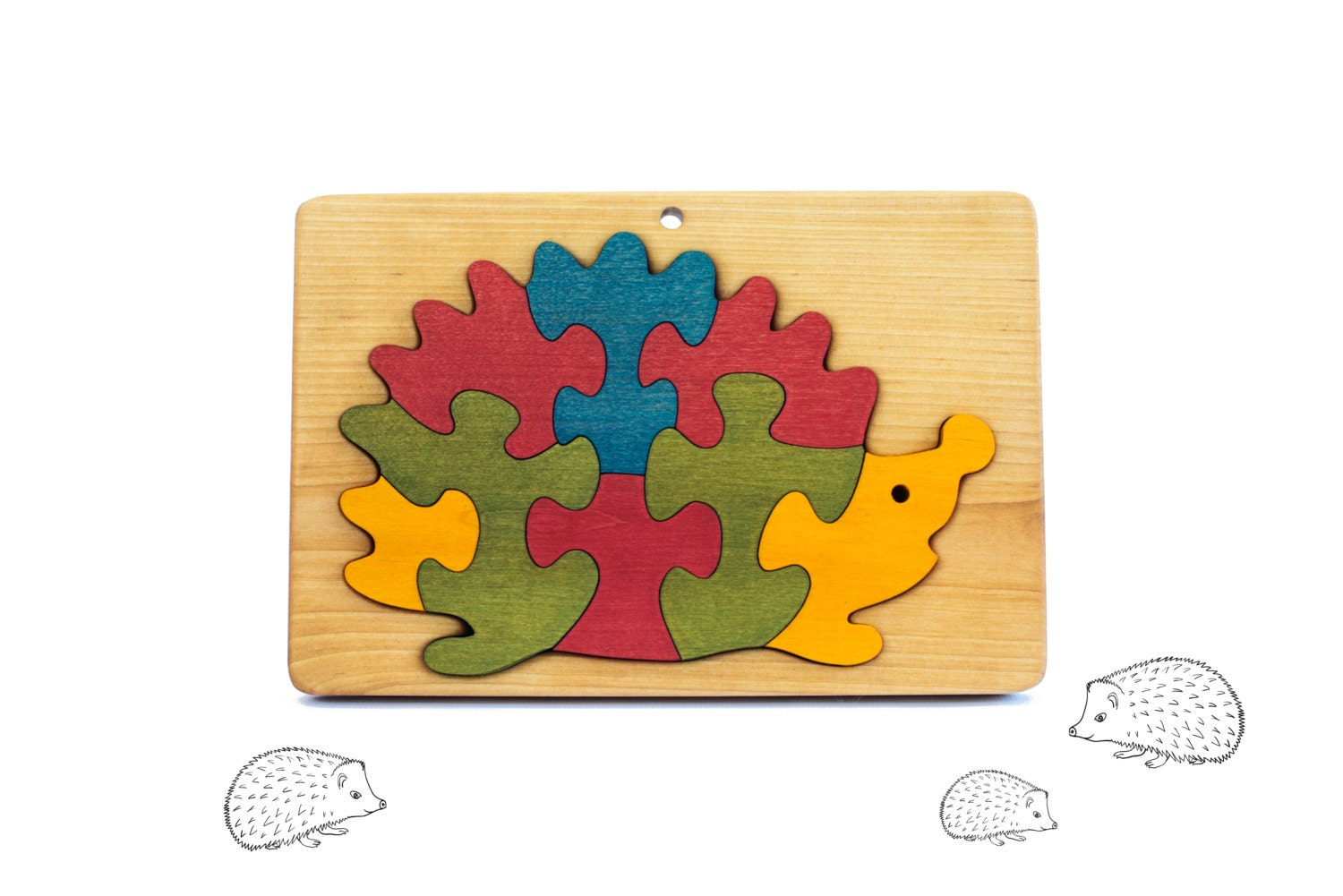Wooden Puzzle Hedgehog Jigsaw Puzzle Toddler Gift Kids Wooden Toddler Puzzle