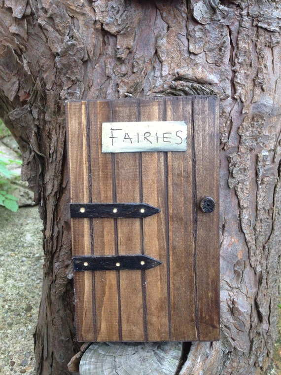 Pretty handmade wooden fairy fairies door for home or garden for Wooden fairy doors