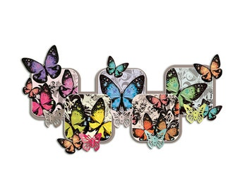 Wall stickers sticker coat rack with 5 hooks for living butterflies