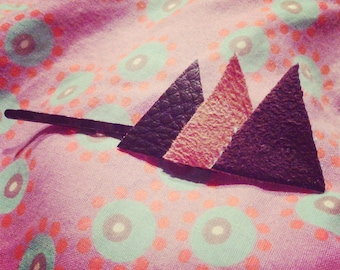 Barrette triangle leather and suede orange and Brown