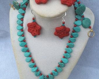 Turquoise Bead Necklace Set