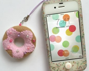 Donut Cell Phone Charm - Strawberry