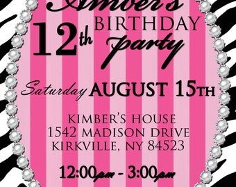 Pink & Zebra Girls Tweens Birthday Party Invitation Digital Download File