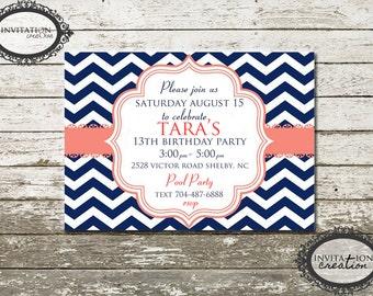 Navy and Pink Chevron Girls Tweens Ladies Birthday Party Invitation Digital Download File