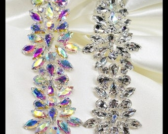 Thick Glass Rhinestone Bridal Trim, Swarovski Quality, (silver, AB) #0135