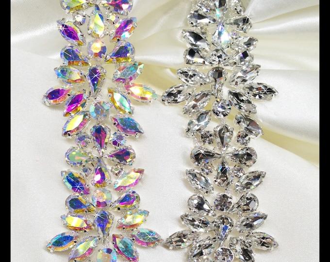 Thick Glass Rhinestone Bridal Trim, Swarovski Quality, (silver, AB) #0135