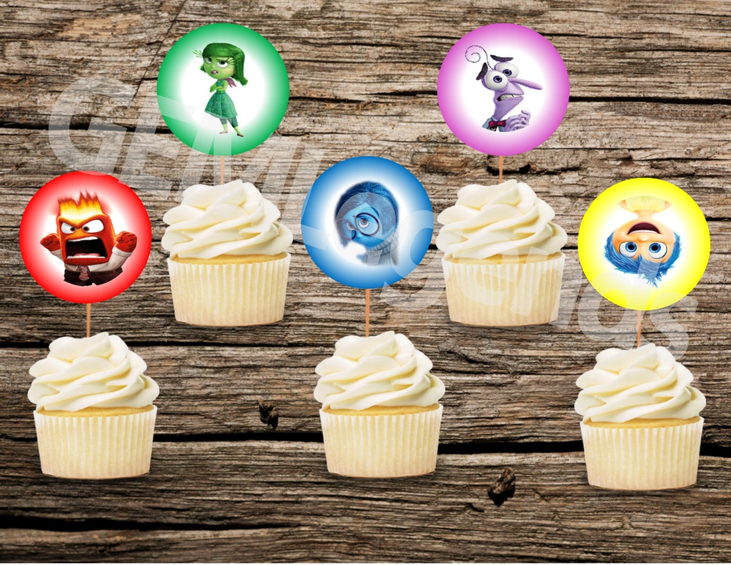This is an image of Bright Inside Out Cupcake Toppers