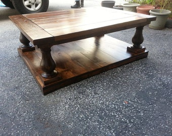 Turned Leg Coffee Table Square Rustic Hand Made Distressed