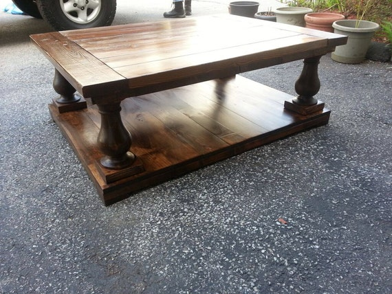 Turned Leg Coffee Table Square Rustic Hand Made By Fatherofwood