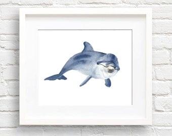 Dolphin Art Print - Nursery Art - Wall Decor - Watercolor Painting