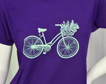 Bike & Basket screen printed t-shirt