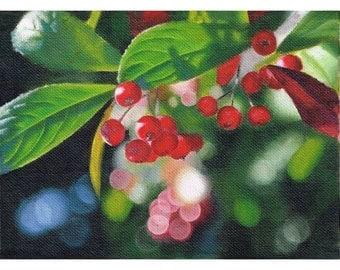 Choke Cherries Oil Painting, Oil Landscape Painting, Original Painting, Canvas Painting, Original Oil Painting, Wall Art, Canvas Art
