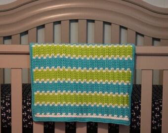 Aqua and Green Reversible Crochet Blanket, Baby Blanket, Crib Blanket