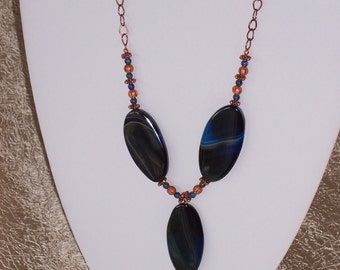 Blue agate and copper necklace