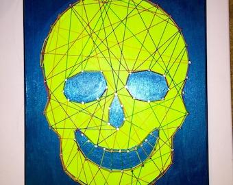 Turquoise/Green Skull String Art
