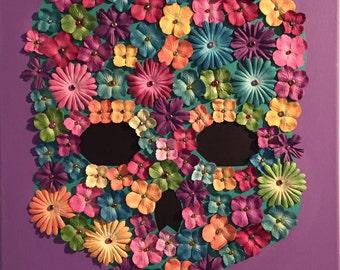 Purple / multi colored flower skull