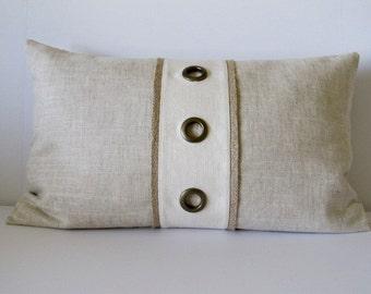 "Lumbar  Decorative Grommet Accent Pillow, Imported Linen in Light Beige 15"" x 24"""