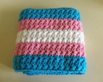 Crochet Star Stitch Trans Pride Flag Scarf / Trans Pride Flag Scarf / Trans Pride Flag / Pride Flag Scarf