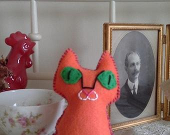 cat stuffed animal orange felt