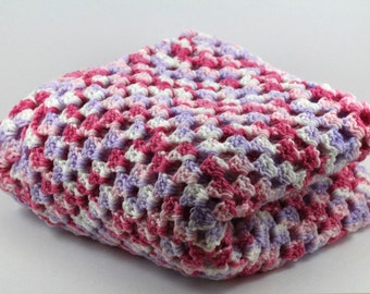 Pink Granny Square Crochet Baby Blanket