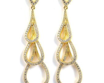 14K Gold Plated Triple Teardrop Dangle Earrings - 3 Drop Journey Sterling Silver Cubic Zirconia CZ