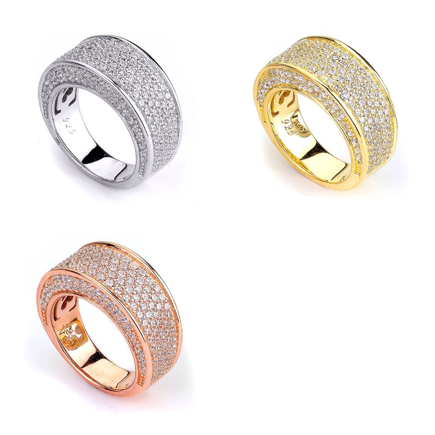 Gold Plated CZ Wide Band Ring 14K Cubic Zirconia Sterling