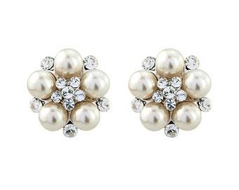 Hollywood Ivory Pearl Stud Earrings, bridal ear rings, prom earrings, bridal accessories, bridal jewellery