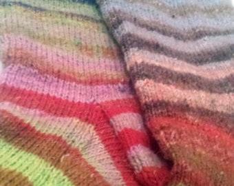 Hand knit socks - gradient striped