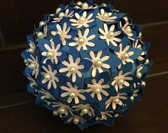 Paper Flower Pomander Hydrangea Ball Cobalt Royal Blue and Pink with Pearls