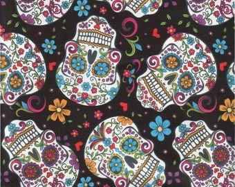 Sugar Skull Cotton Fabric. - 1 yard -