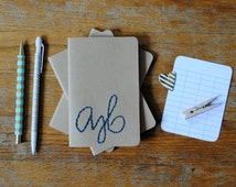 Custom Hand Embroidered Initials Notebook