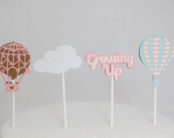 Hot Air Balloon Birthday Cupcake Toppers
