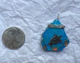 Wire Wrapped Hand Painted River Glass Pendant (Sea Turtle)