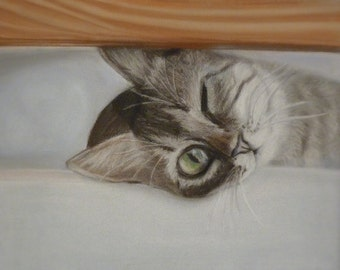 MADE TO ORDER Original painting from the artist Cute cat Curiosity Little cat Painting with pastels Painting gift Interior Design