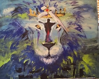 Original 24x30 canvas painting of a landscape in blues and greens behind the face of a lion