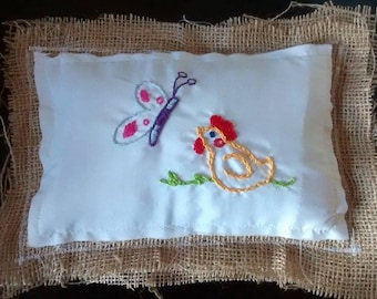 Chicken Coop Burlap Pocket Pillow (Chicken and Butterfly)