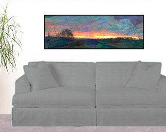 Sunset Landscape Wall Art,Picture of Sunset,Photograph of Sunset,Picture of Sunset,Photo of Teal,Pink Sunset Panorama,Surreal Sunset Photo