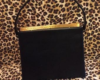 Vintage black leather Bag by Dorian handbag/purse with gold detailing