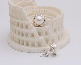Delny 9K white gold freshwater pearl earring studs 150393