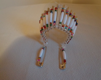 Handcrafted Car Rear View Mirror American Indian Head Piece