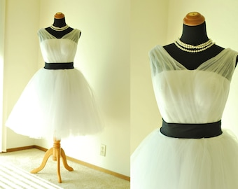 50shouse_ 50s inspired retro feel v neckline tulle knee or tea length wedding dress with sash_ custom make