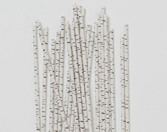 Birch Party Straws, Birch Paper Straws, Birch Straws, Wedding Buffet Straws, Wedding Shower Straws, Birthday Party Straws,  Set of 10