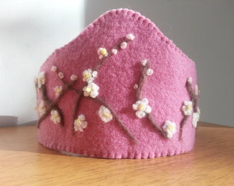 Cherry Blossom  Steiner Waldorf felt birthday celebration crown