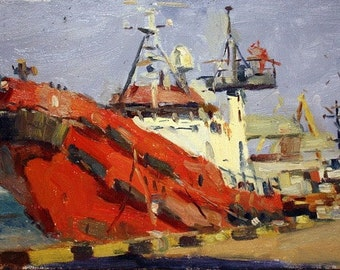Original Painting Red Boat Scenic Paintings Canvas Art 40x30 cm