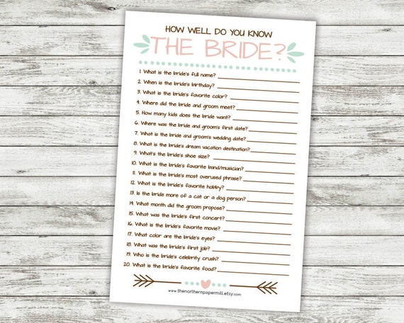 How Well Do You Know The Bride: How Well Do You Know The Bride Printable Bridal Shower